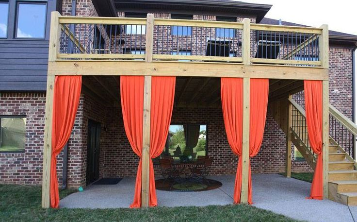 Exterior Remodeling , Great Under Deck Ideas : Under Deck Ideas With Curtains
