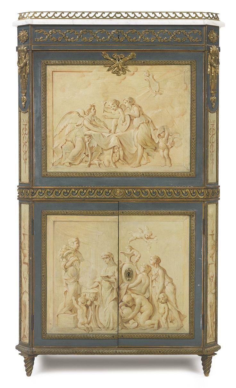 A Louis XVI style grisaille-painted and gilt bronze-mounted secrétaire à abattant, afterthe model byRené Dubois late 19th century | lot | Sotheby's