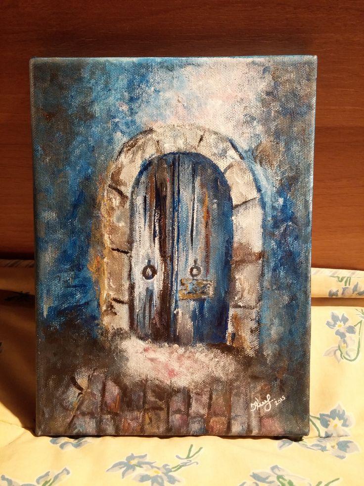 Door. By Ieva Krivma. Acrylic. 22x16 cm. Canvas