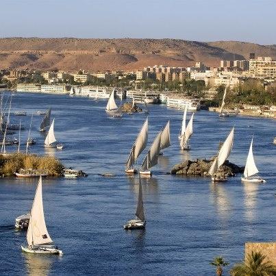 Le nil et ses felouques, 6 700 km de long, le plus long fleuve du monde!    Il traverse l'Égypte, le Soudan, l'Ouganda, le Congo, le Kenya, la Tanzanie, le Rwanda, le Burundi et l'Éthiopie.