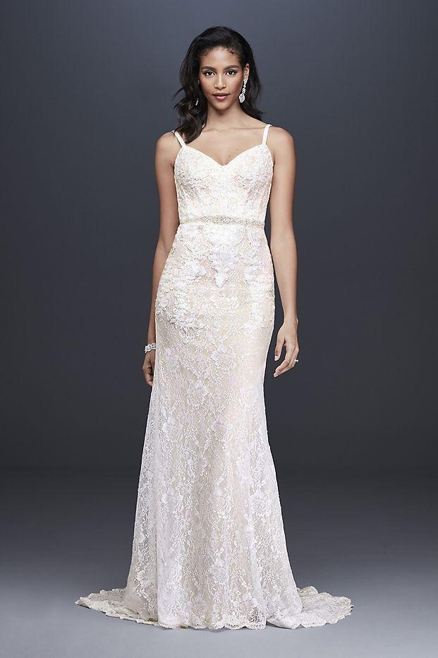 70ea530ee83 Sequin Lace Sheath Wedding Dress with Crystal Belt