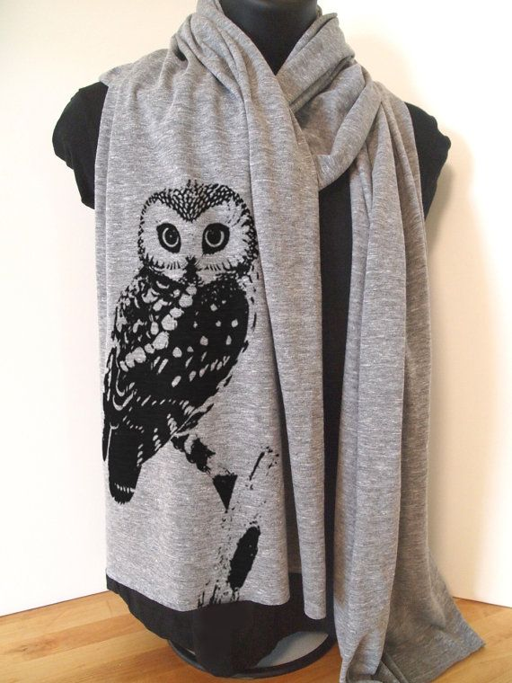 URBAN OWL Unisex Long Sheer Jersey Scarf 3 Colors by ZenThreads, $17.00