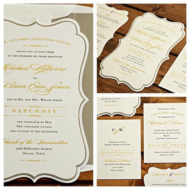 Die cut wedding invitation by Luscious Verde