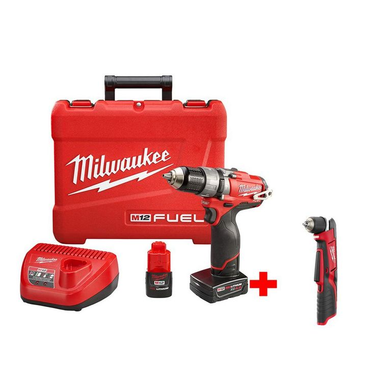 Milwaukee M12 Fuel 12-Volt Brushless 1/2 in. Hammer Drill and Driver Kit with Free M12 3/8 in. Right Angle Drill (Tool-Only)