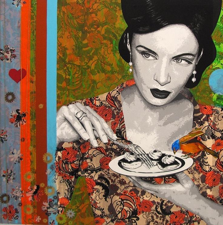 "Saatchi Online Artist: Raquel Gralheiro; Mixed Media, 2012, Painting ""Lips like sugar"""