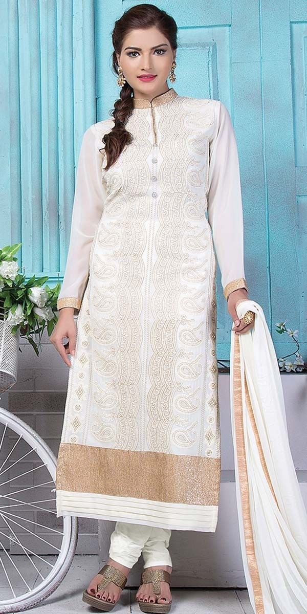 Fetching White Georgette Straight Suit With Dupatta.