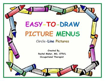 Picture menu for children to use to help them learn to draw legible and simple drawings. Uses different colors which helps the pictures be more legible (by slowing the child down as he/she switches colors and by distinguishing the different parts of the drawing).