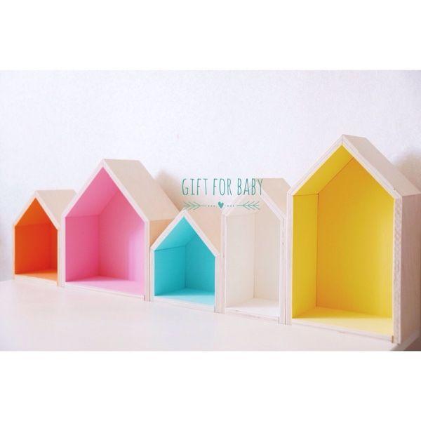 Купить Полка - домики - белый, полочка, полка, полка из дерева, домик, домик для кукол, домики