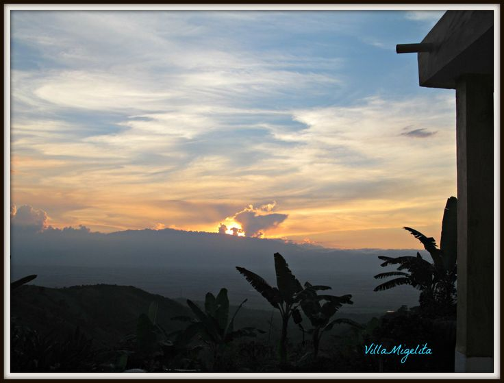Sunset over mountains of Cali, Colombia