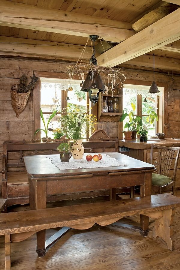 Rustic - dining room   via Le Royaume Du Monde