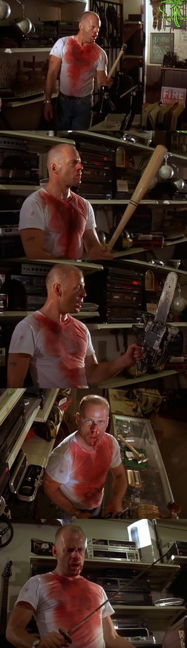 The different weapons Butch picks up in Maynard's pawn shop are references to different films. The Bat (Walking Tall), The Chainsaw (The Texas Chainsaw Massacre), The Hammer (Friday The 13th Part 2), The Samurai Sword (Lightning Swords of Death).