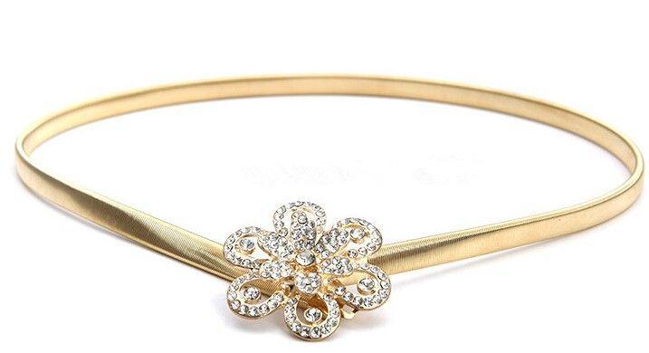 2015 fashion mewah perhiasan berlian bunga perak sabuk emas logam ...