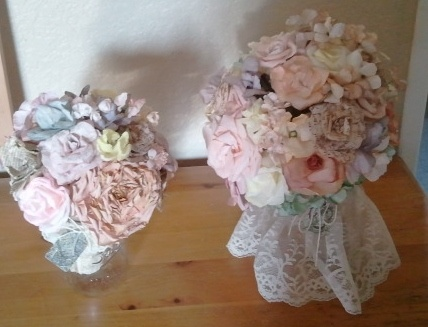 Hand painted, hand made coffee filter flowers Handmade paper Wedding Bouquets   by L.Harris