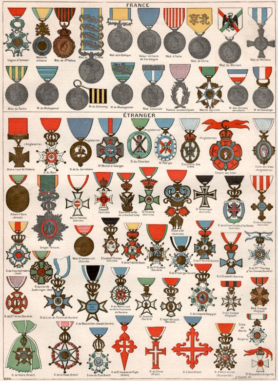 1897 French Military Decoration Antique Print by Craftissimo