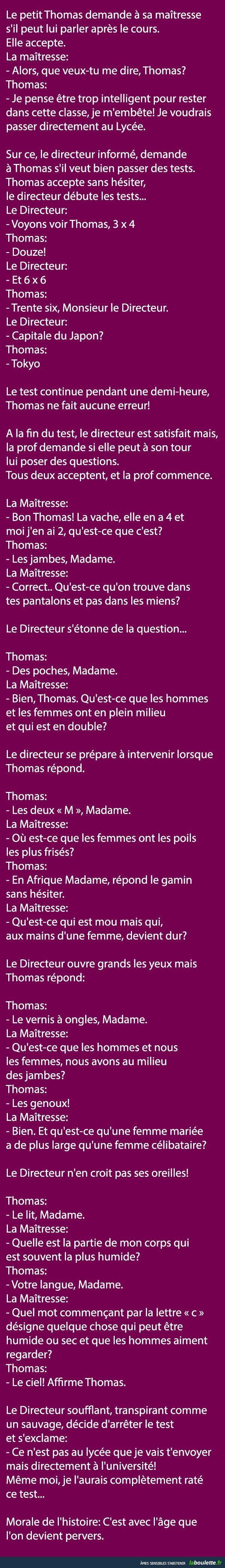 Le petit Thomas demande à sa maîtresse s'il peut lui parler après le cours... | LABOULETTE.fr - Les meilleures images du net!