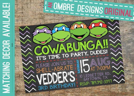 Ninja Turtles Invitation TMNT Invite Chalkboard by OmbreDesigns