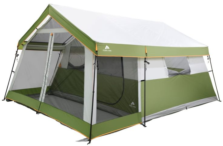 Ozark Trail 8 Person Family Cabin Tent 1 Room With Screen Porch Green Walmart Com Cabin Tent Family Tent Best Family Tent