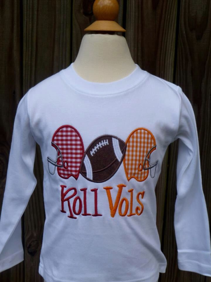 Personalized Alabama Tennessee Roll Vols House Divided Applique Shirt or Onesie by PixieStitchLLC on Etsy https://www.etsy.com/listing/204270735/personalized-alabama-tennessee-roll-vols