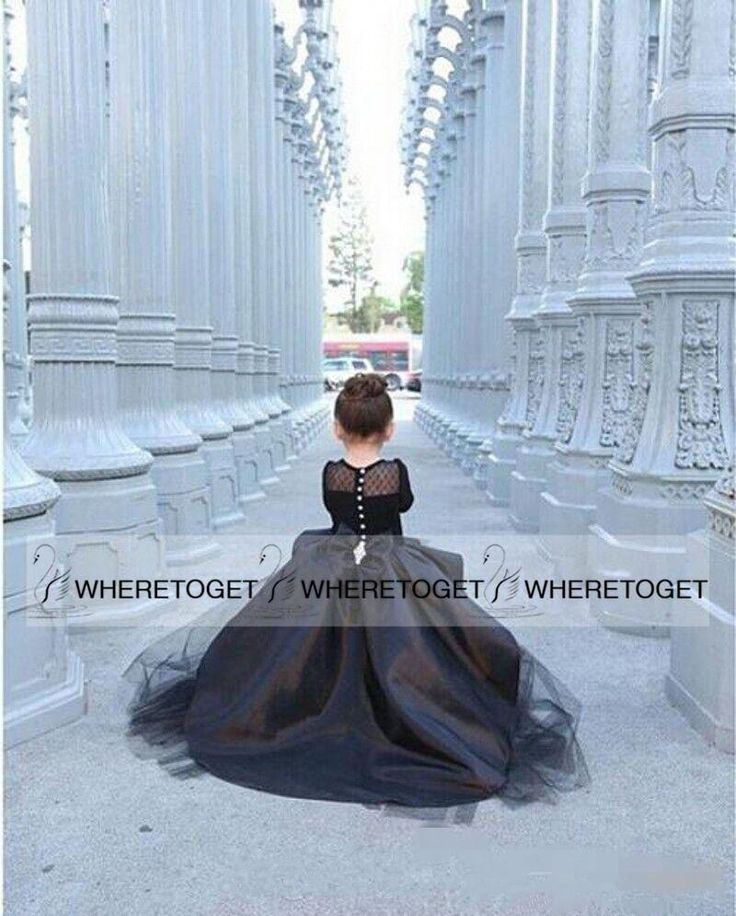 2015 New Black Pageant Dresses For Girls Long Sleeve Cascading Ruffles Pleats Custom Made Jewel Girl Junior Pageant Dresses Baptism Dresses For Infants Black Dresses For Girls From Wheretoget, $70.36| Dhgate.Com
