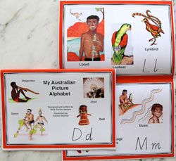 Aboriginal & TSI - My Australian Picture Alphabet - Book A beautiful, brightly-illustrated alphabet book for 3- to 8-year-olds. Each page is decorated with images from Indigenous Australian culture and Australian animals with names that begin with the relevant alphabet letter.