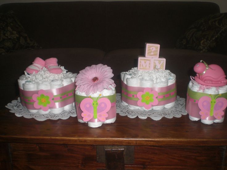 Homemade baby shower centerpieces pink and green baby for Pink diaper bouquet