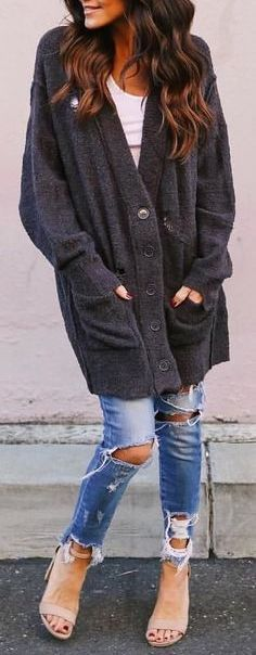#Winter #Outfits / Gray Oversized Coat + Jeans