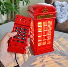 Webetop творческий телефонная будка из светодиодов свет винтажный стиль новинка лампы из светодиодов лампы аккумуляторная настольная лампа спальня ночной освещение(China (Mainland))