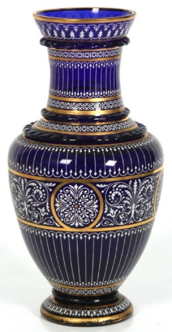 Lobmeyr Enamel Cobalt Glass Vase