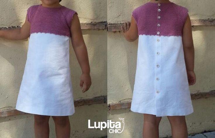 Vestido niña con cuerpo de punto