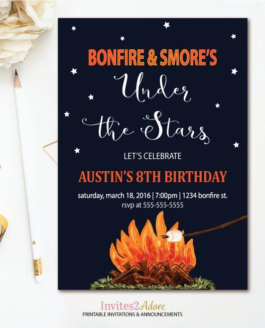 Bonfire & Smore's Birthday Invitation - Campfire Party - Backyard Bonfire Birthday Invite - Under the Stars Printable Invitation