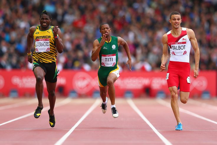 (L-R) Jason Livermore of Jamaica, Ncincilili Titi of South Africa and Danny Talbot of England