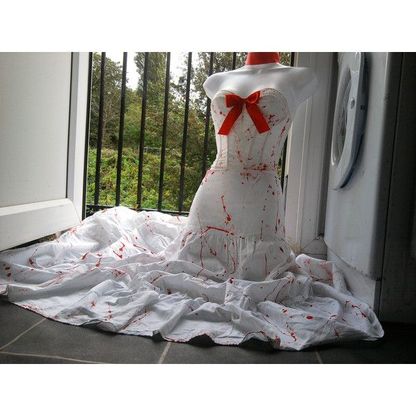 halloween ZOMBIE bride wedding costume blood splattered skirt... (54 CAD) ❤ liked on Polyvore featuring costumes, dresses, zombie costume, 80s halloween costumes, 80s costumes, corpse bride halloween costume and eighties costumes