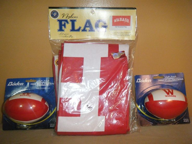 NCAA WABASH COLLEGE Red White Flag 3'x5' & Mini Football lot Mint in Package  #WabashCollege