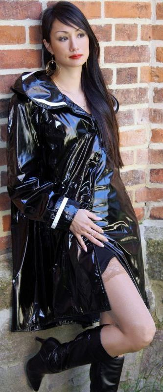 Sexy Woman In Patent Leather Women In Leather