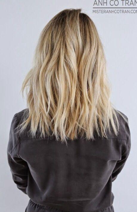 Mid one length hair cut
