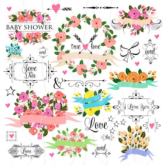 66 unique Wedding Floral clipart, Digital Wreath, Frames, Flowers, Arrows Clip art scrapbooking,  Invitations, Ribbons, Banners, Heart