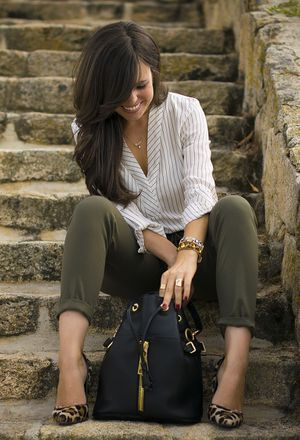Look by @ponteunostacones with #zara #work #shirt #jeans #heels #stripes #pants #camisas #leopardo #militar #zapatos #leopard #trabajo #pantalones #formal #shoes #chic #parfois #blue #baggypants #bags #green #print #working #khaki #verde #trousers #diario #classic #kaki #outfit #animal #love #look #jewelry #looks.