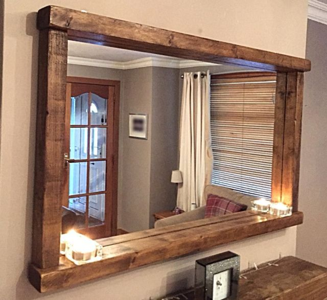 Handcrafted Rustic Farmhouse Country Style Chunky Wooden Mirror With Shelf Rustic Bathroom
