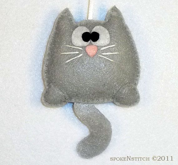 Felt Christmas Ornament Grey Kitty by SpokenStitch on Etsy