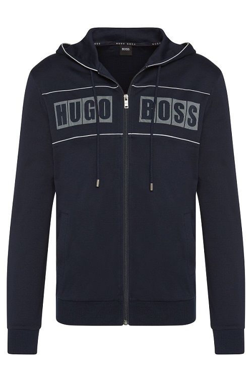 Blouson sweat en coton à capuche Jacket Hooded Hugo Boss