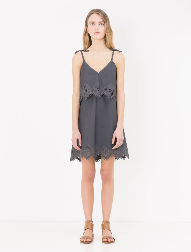 Poplin dress with eyelet edging