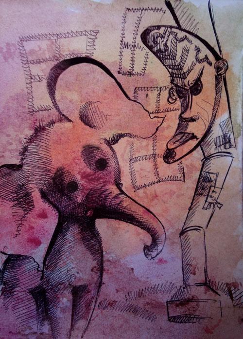 о, это иллюстрация к моей собственной сказке про слона и маску!     …на спине можно целого слона унести…                                                                                                            © Серёжа        ...Слон шёл по городу и пел песню. А на Владимирском на водосточной трубе висела маска. Страшная размалёванная маска на водосточной трубе посреди города. Прямо напротив «Сайгона». Точнее, бывшего «Сайгона». Слон остановился и уставился на маску. Маска, и без того не…