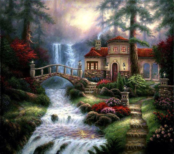 112 Best Images About House Painting On Pinterest: Magical House, Lanterns On Tower, Water Cascades On This