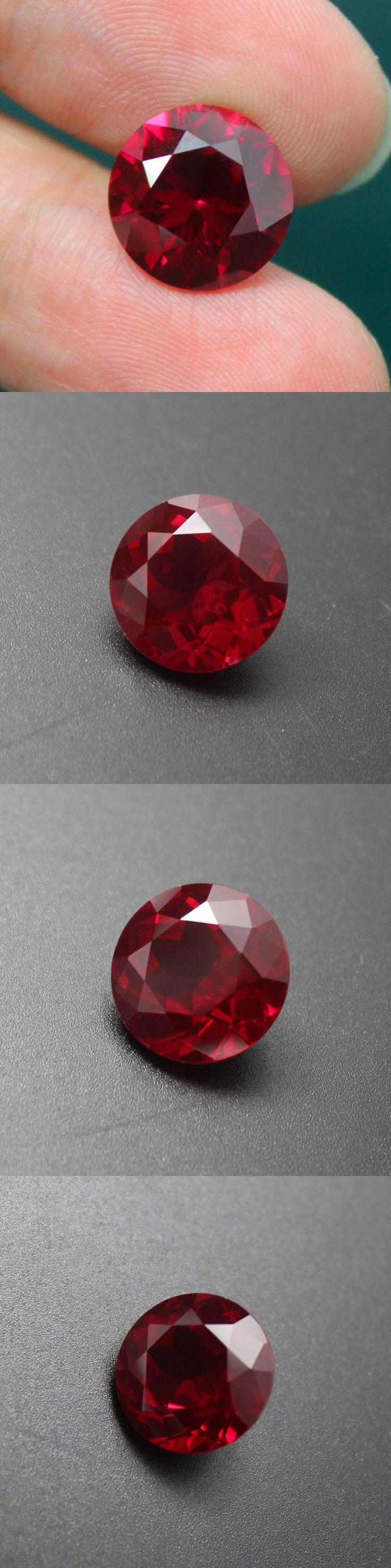 Lab-Created Rubies 122957: 10Mm Round Circular Ruby Diamond Gemstone Barestone Red Ring Maried Wedding Gem BUY IT NOW ONLY: $41.99
