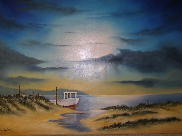 Evening Seascape oil painting by c walters