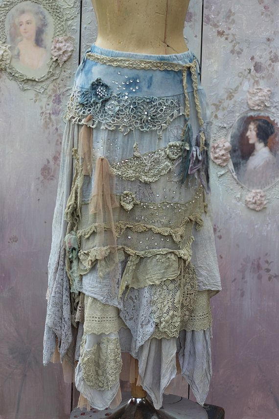 Barocco skirt romantic maxi skirt M size by FleursBoheme