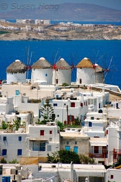 Windmills in Mykonos , Greece