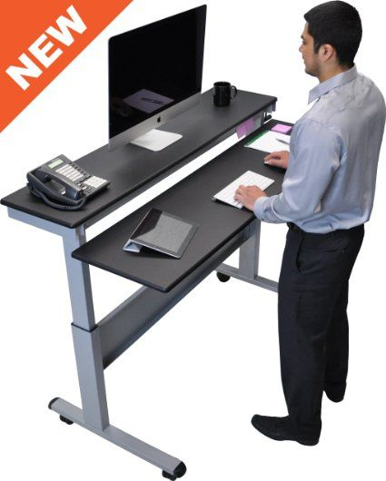 60 Quot Crank Adjustable Height Sit To Stand Up Desk With