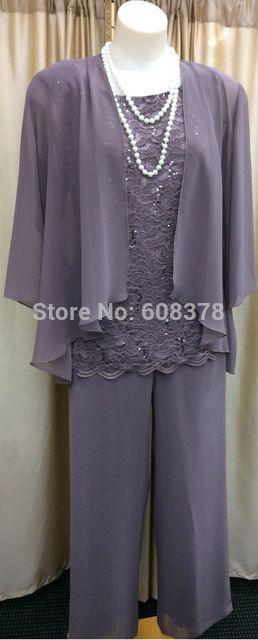 Venta caliente de tres piezas de gasa y encaje de manga larga azul marino más el tamaño elegante madre de la novia traje pantalón con la chaqueta