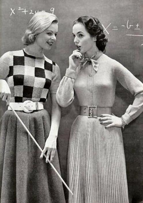 1950s classroom fashions.